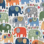 Happy Elephants on White Quilting Fabric