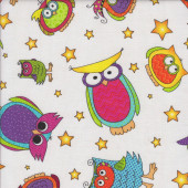 Colourful Owls Stars on White Happy Owl-O-Ween Quilting Fabric