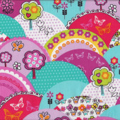 Happy Hills Trees Butterflies Flowers Quilting Fabric