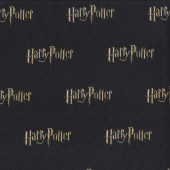 Harry Potter Wording on Black Digitally Printed Licensed Fabric