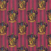 Harry Potter Gryffindor Badges on Red Stripe Digitally Printed Licensed Fabric