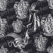 Harry Potter on Black Gryffindor Badge Crest Kids Licensed Quilting Fabric