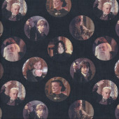 Harry Potter Characters on Black Quilting Fabric