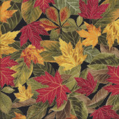 Autumn Harvest Leaves with Metallic Gold on Black Quilting Fabric