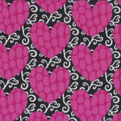 Pink Love Hearts on Black Heart Garden Quilting Fabric