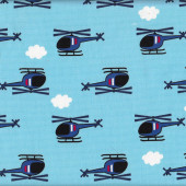Helicopters Clouds on Blue Boys Kids Printed Oxford Fabric