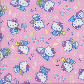 Hello Kitty on Pink Music Notes Piano Fabric