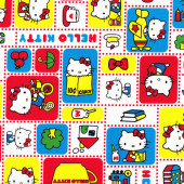 Cute Hello Kitty Licensed Kitten Teacups Red Blue Kokka Fabric