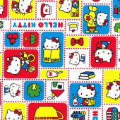 Cute Hello Kitty Licensed Kitten Teacups Red Blue Kokka Fabric