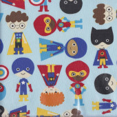 Super Kids Heroes on Blue LAMINATED Water Resistant Slicker Fabric