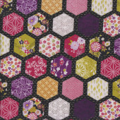 Japanese Hexagon Patch on Black Oriental Asian Quilting Fabric