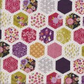 Japanese Hexagon Patch on White Oriental Asian Quilting Fabric