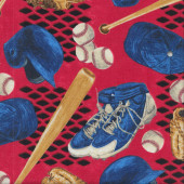 Baseball Bats Shoes Helmet Gloves on Red Quilting Fabric