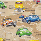 Holden Cars on Beige Australian Map Boys Mens Quilt Fabric