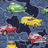 Holden Cars on Blue Australian Map Boys Mens Quilt Fabric