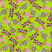 Holiday Cheer Peppermint Candy on Green Christmas Quilting Fabric