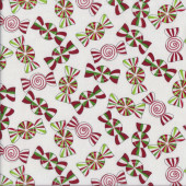 Holiday Cheer Peppermint Candy on White Christmas Quilting Fabric