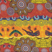 Australian Indigenous Aboriginal Home Country Yellow by T. Murray Quilting Fabric