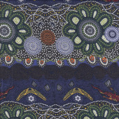 Australian Indigenous Aboriginal Home Country Green by T. Murray Quilting Fabric