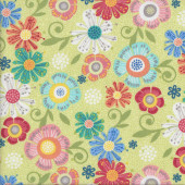 Colourful Flowers on Light Green Home Grown Quilting Fabric