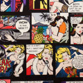 Home Sewing is Easy on Black Cartoon Hawaii Large Print Quilting Fabric