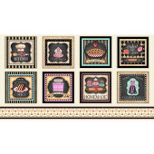 Home Sweet Home Retro Kitchen Squares Love Hearts Quilt Fabric Panel