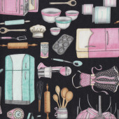 Retro Kitchen Utensils on Black Home Quilting Fabric