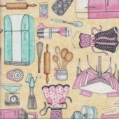 Retro Kitchen Utensils on Tan Home Quilting Fabric