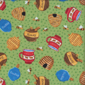 Honey Pots Bees on Green Three Bears Quilting Fabric