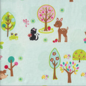 Cute Deer Owls Hedgehogs Hoo's in the Forest Quilting Fabric