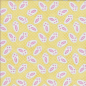 Bunny Rabbit Feet on Yellow Hop Quilting Fabric