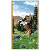 Brown Horse Mountains Roaming Wild Quilting Fabric Panel