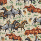 Horses Grass on Beige Quilting Fabric