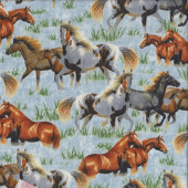 Horses Grass on Blue Quilting Fabric