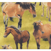 Brown Horses Farm Animal Quilting Fabric