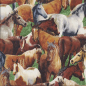 Brown Grey Horses on Green Farm Animal Quilting Fabric