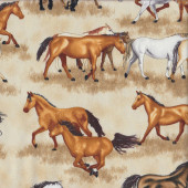 Horses Running on Beige Quilting Fabric