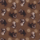Horses With Bridles Horseshoes on Brown Country Quilt Fabric