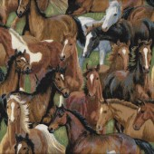 Brown Horses on Green Farm Animal Country Quilt Fabric