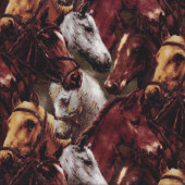 Brown and Grey Horses With Bridles Country Quilt Fabric