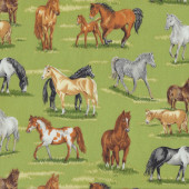Horses on Green Quilting Fabric