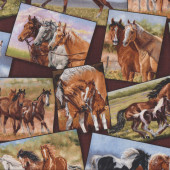 Brown Grey Black and White Horses in Rectangles Country Quilt Fabric