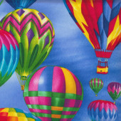 Colourful Hot Air Balloons on Blue Sky Kids Quilting Fabric