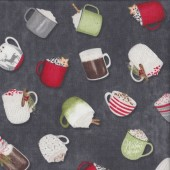 Hot Cups of Cocoa Drink on Grey Quilting Fabric