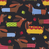 Hot Dogs Dachshunds Sausage Dogs on Black Quilting Fabric