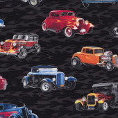 Hot Rod Vintage Cars Quilting Fabric