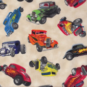 Classic Hot Rod Vintage Cars on Beige Boys Men Quilt Fabric