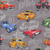 Classic Retro Cars Quilting Fabric