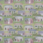 Cottages Houses Homes on Green Quilting Fabric