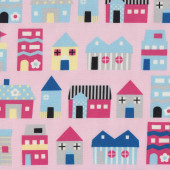 Pink Blue Homes Houses on Light Pink Fabric